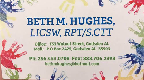 Beth Hughes, Registered Play Therapist Business Card